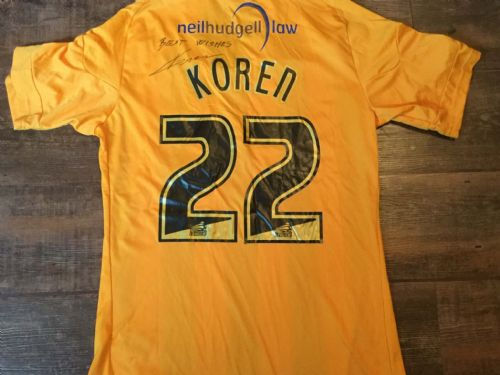2010 2011 Hull City Koren Match Worn Marie Curie Home Football Shirt